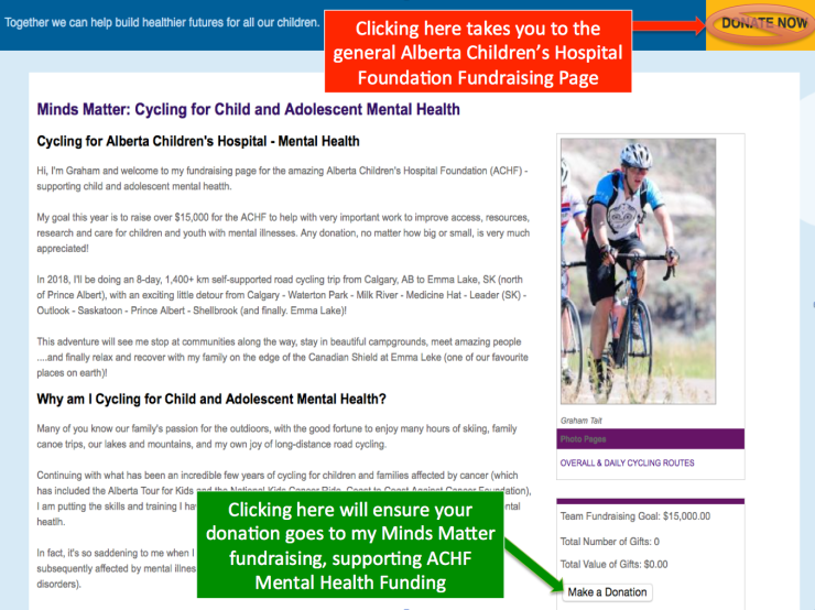 Minds Matter Cycling Tour 2018 Supporting Alberta Children S Hospital Foundation Child Adolescent Mental Health Tait Family Adventures